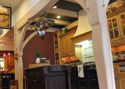 Custom French Timber Frame Country Kitchen Display, McPhie Cabnietry_Bozeman, MT