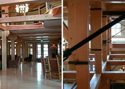 Custom Timber Frame, Snow Lodge Lobby at Old Faithful_Yellowstone National Park, WY