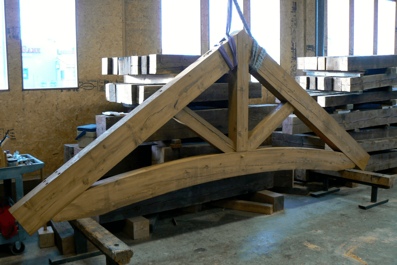 arched-chord-truss-manufacture-in-shop-reclaimed-wood