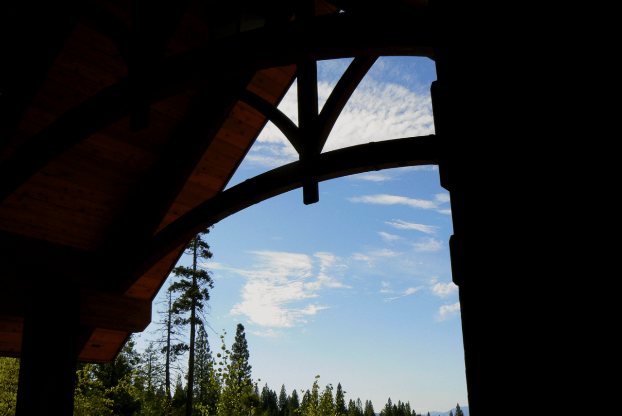 arched-chord-truss-silhouette-exposed-reclaimed-douglas-fir